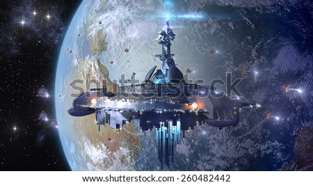 Alien mothership near Earth, for futuristic, fantasy or interstellar deep space travel backgrounds. - stock photo