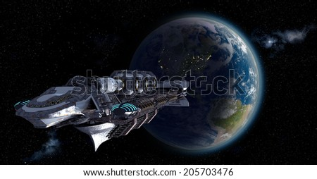 Alien mothership or spacelab leaving Earth for futuristic, fantasy or interstellar deep space travel backgrounds. Earth map for this image is a .jpg file provided under a general permission by NASA. - stock photo