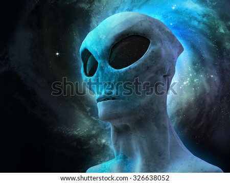 alien over galaxy background - stock photo