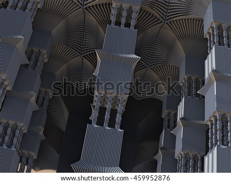 Alien pillars abstract fractal science fiction design in the form of futuristic city building columns for backgrounds and wallpapers - stock photo