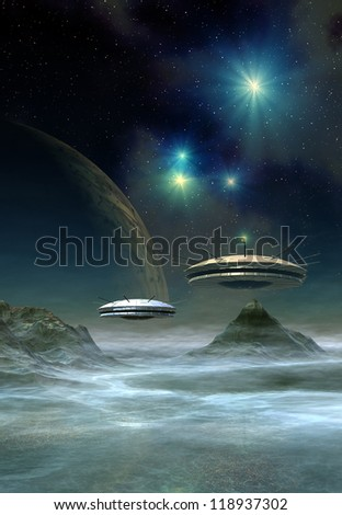 Alien Planet And Spaceships, Computer Artwork - stock photo