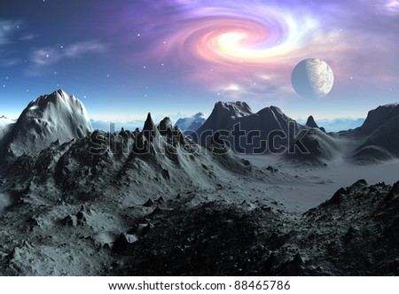 Alien Planet Aries part 2, volcanic fantasy landscape with mountains and lakes, moon and mystic sky in the background - stock photo