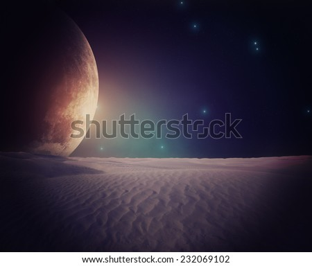 Alien planet as seen from the other one's surface. - stock photo