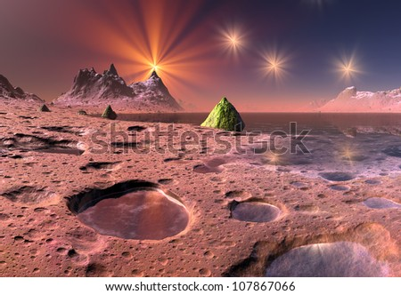 Alien Planet Between Stars - stock photo