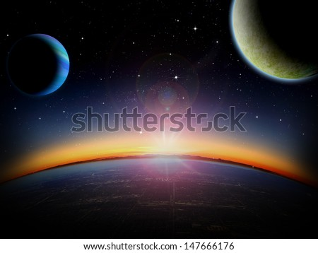Alien planet city at sunrise or sunset with 2 close moons in orbit. Sci-fi Fantasy artwork.