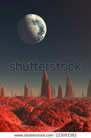Alien Planet - 3D Rendered Computer Artwork - stock photo