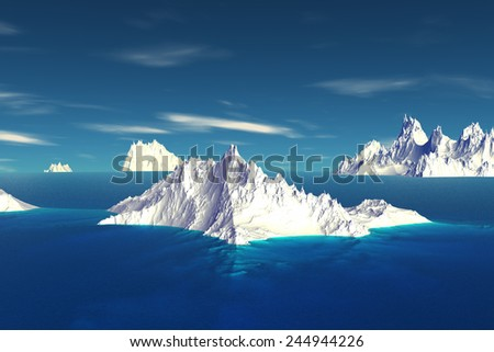 Alien Planet - 3D Rendered Computer Artwork. Iceberg