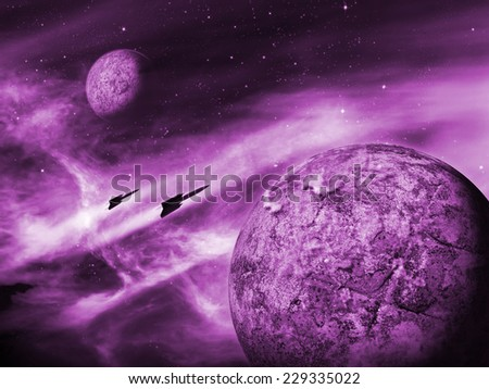 Alien planet in a distant space nebula. Purple Space Scene/Background - stock photo