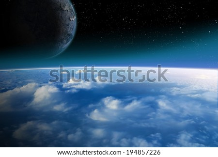 Alien Planet sci-fi scene. Alien moon rises over earth like planet. Artist's Rendition.