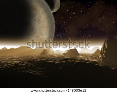 Alien planet. Two moons at night rise over the landscape of a rocky moon - Artist impression of fantasy landscape - stock photo