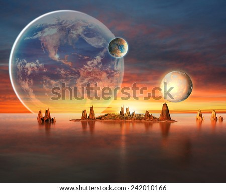 Alien Planet With planets, Earth Moon And Mountains . 3D Rendered Computer Artwork. Elements of this image furnished by NASA