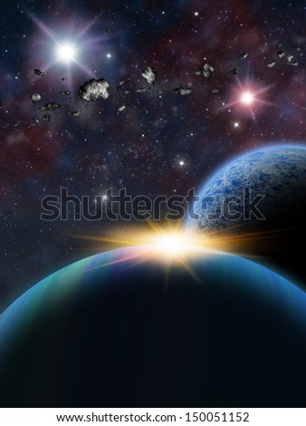 Alien Planets, sunrise or sunset in sci-fi fantasy space scene with asteroids over a planet and moon.