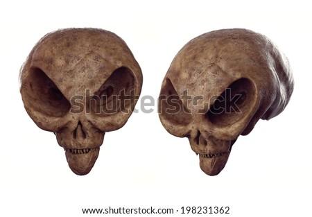 Alien skull - Forbidden Archeology - stock photo