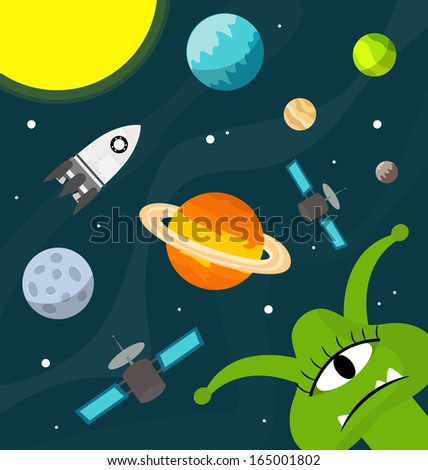Set planets solar system cartoon style flat icon stock vector image - Vector Flat Space Elements Spaceship Ufo Stock Vector