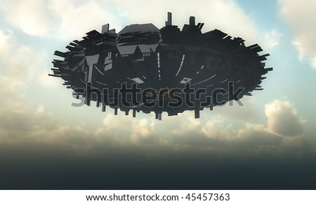 alien spaceship - stock photo