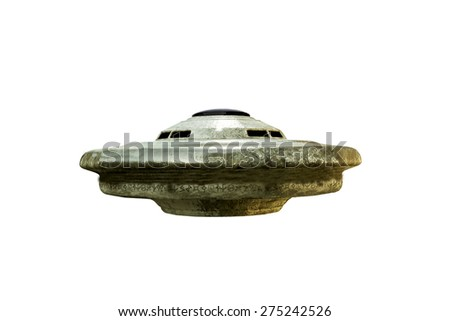 alien spaceship isolated on white background - stock photo