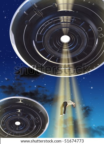 Alien spaceship kidnapping an human female. Digital illustration. - stock photo