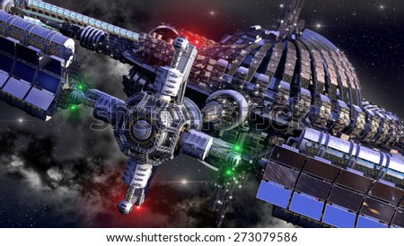 Alien spaceship, with central dome and gravitation wheel, in interstellar deep space travel, for futuristic or fantasy backgrounds. - stock photo