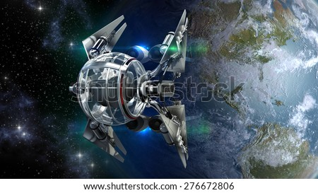 Alien spaceship, with spherical drone like pod, leaving Earth for interstellar deep space travel, for futuristic, space exploration or fantasy backgrounds - stock photo