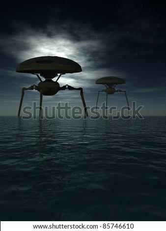 Alien tripods in a dark moonlit ocean - stock photo