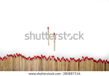 alienated many matches and two separate hasten - stock photo