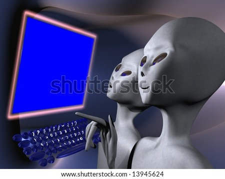Aliens on a computer terminal - stock photo