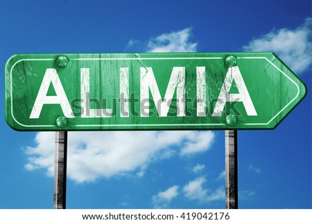 Alimia, 3D rendering, a vintage green direction sign