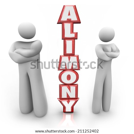 Alimony word in red 3d letters between a divorced couple ex husband and wife in dispute over spousal support amount of money to be paid - stock photo