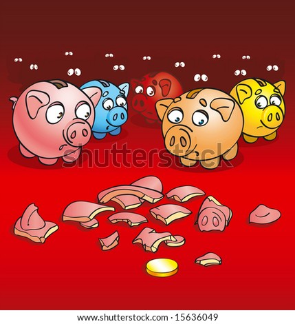 Alive pigs of a coin box with a fright look at splinters of the broken pig of a coin box (rastered illustration) - stock photo