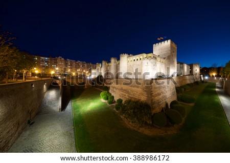 Aljaferia Castle in Zaragoza, Aragon, Spain. - stock photo