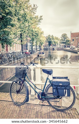 Alkmaar canal and bicycles, The Netherlands - stock photo