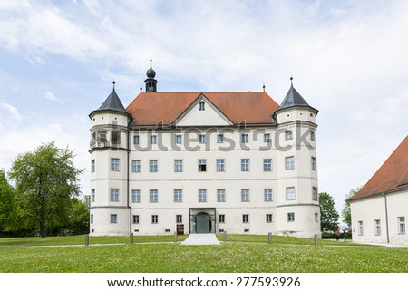 ALKOVEN,AUSTRIA-MAY 8,2015:Main entrance to the memorial of Hartheim Castle became notorious as one of the Nazi Euthanasia killing centers.It is now a memorial site. - stock photo
