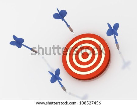 All Arrows Missed Target (Isolated on White Background) - stock photo