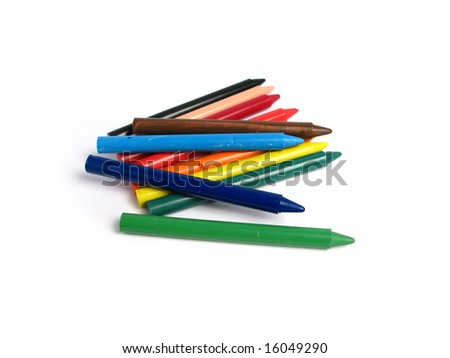 All color crayons on white background - stock photo