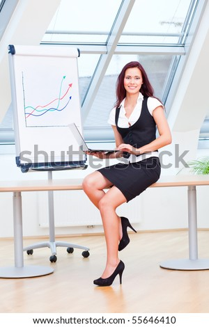 All curves in the flipchart are pointing upwards - stock photo