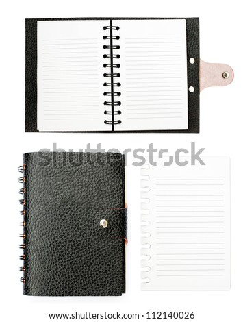 All detail black leather notebook - stock photo