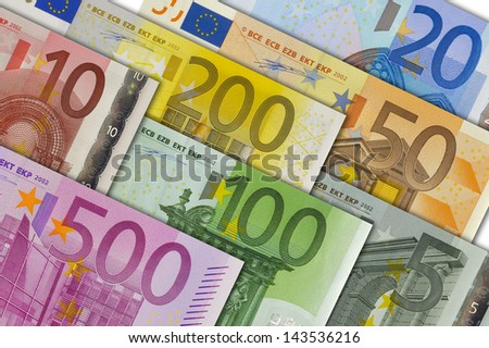 all euro banknotes - stock photo