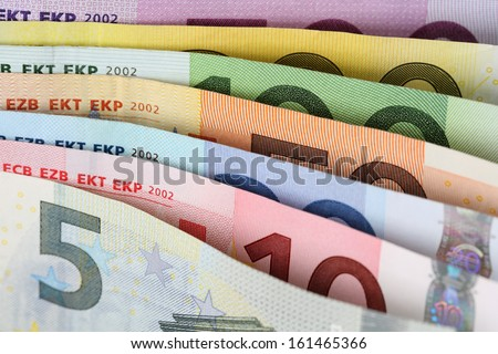 All Euro notes of the European Union Currency one after another - stock photo