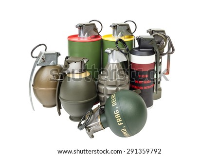 All explosives, weapon army,standard timed fuze, hand grenade on white background - stock photo