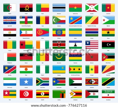 All flags of the countries of Africa. Rectangle glossy style.