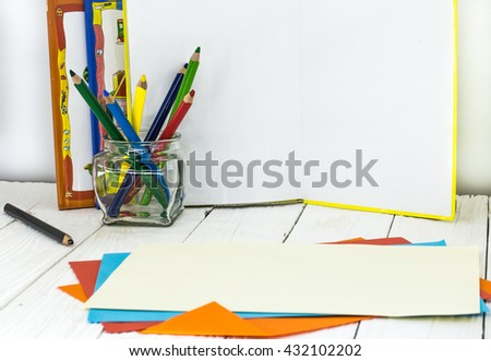 all for children's creativity, pencils, scissors, colored paper, there is a place for text - stock photo