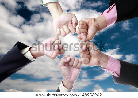 All for one ,we are working together with blue sky - stock photo