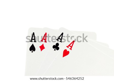 All four card aces isolated on a white background