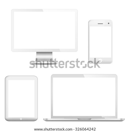 All generations of personal devices (LCD monitor of desktop computer, tablet PC, laptop PC and smart phone) with empty LCD screens isolated on white background