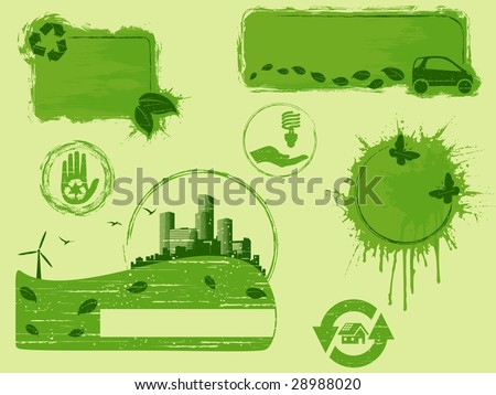 All-Green grunge eco design elements (JPG); a vector version is also available