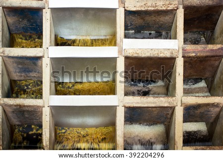 All kinds of rices were came out from the paddy separator machine. In rice milled, Thailand - stock photo