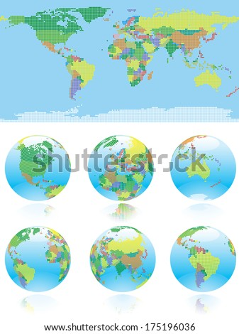 All nations  of the World map and globe. World map and six kind of globe with all countries of World.