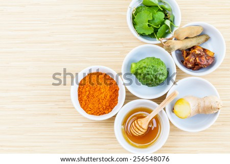 All of thai skin care ingredients. - Macro shot with copy space. - stock photo