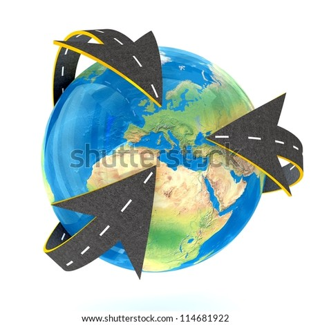 All Roads into Europe on white background. Isolated 3D image - stock photo