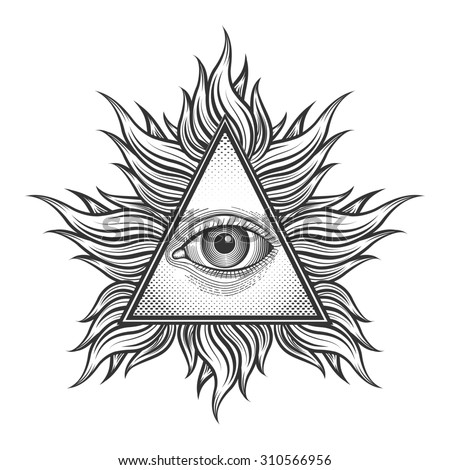 All seeing eye pyramid symbol in the engraving tattoo style. Freemason and spiritual, illuminati and religion, triangle magic - stock photo
